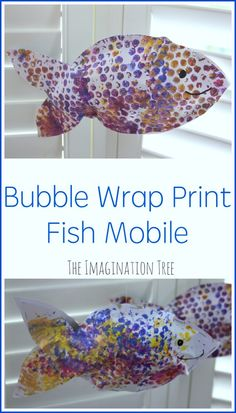 Bubble Wrap Print Fish Mobile fish craft - ocean kid craft - crafts for kids- kid crafts - acr Ocean Kids Crafts, Sea Crafts, Easy Diy Crafts, Toddler Crafts, Crafts For Kids, Ocean Themed Crafts, Ocean Animal Crafts, Infant Crafts, Craft Kids
