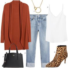 rust colored cardigan leopard boots, cuffed jeans, fall jean trends fall outfit, women casual fashion, how to styl Trendy Outfits, Fall Outfits, Fashion Outfits, Womens Fashion, Fashion Trends, Ladies Fashion, Fashion Ideas, Fashion Blogs, Fashion 101