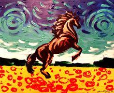 Original Contemporary  Fine Art Textured painting Wild by mjoyshop, $199.00