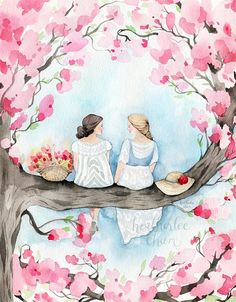 Best Friend and Sister Art © 2017 Heatherlee Chan Best friends or sisters...maybe both...sitting in a cherry blossom tree. ***To Add Custom Text purchase this Add-On: https://www.etsy.com/listing/559858780/add-text-to-an-art-print-add-on?ref=shop_home_active_2 ***To Change Hair