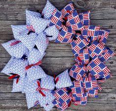 USA American Flags Handmade Patriotic Fabric Wreath | SooBoo -  on ArtFire