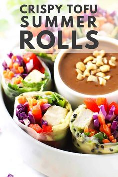 I love this Crispy Tofu Summer Rolls recipe because it is a deliciously healthy snack loaded with flavor, crunch and all the colors of the rainbow! #zestedlemon #summerrolls #peanutsauce #appetizer #snack #recipe |zestedlemon.com Tapas Recipes, Side Recipes, Appetizer Recipes, Lunch Recipes, Dinner Recipes, Healthy Snacks, Healthy Recipes, Vegetarian Recipes, Spicy Peanut Sauce