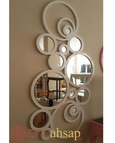 Unique Mirrors, Round Mirrors, Home Decor Wall Art, Home Decor Furniture, Cnc Cutting Design, Wrought Iron Decor, Door Gate Design, Balkon Design, Acrylic Mirror