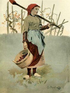 """La Vigneronne (environs d'Obernai)"" - Tableau de Charles Spindler, illustrant les costumes traditionnels du Bas-Rhin (France)"