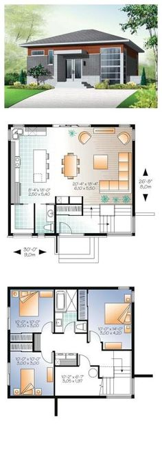 Modern House Plan 76298   Total Living Area: 1587 sq. ft., 3 bedrooms, 1 bath & 1 half bath. Ample windows and entirely open activities area on main floor. Outstanding kitchen with island and lunch counter and 8'x3' walk-in pantry. #houseplan #modernhouse by sonya