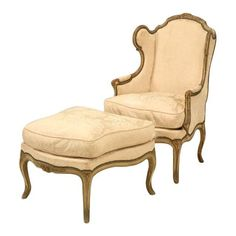 Louis XV Style French Antique Bergere and Ottoman in Original Paint 3
