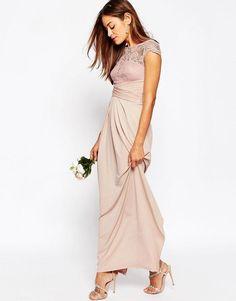 ASOS | ASOS WEDDING Lace Top Pleated Maxi Dress at ASOS