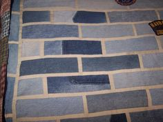 Brick Wall quilt - recycled denim - QUILTING