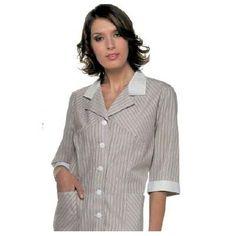 Camice donna in 100% cotone. Disponibile nel colore mostrato, panna a righe.