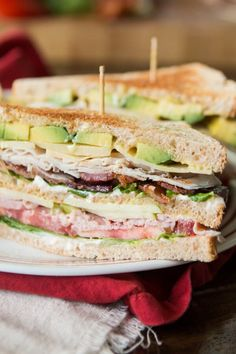 The BEST Triple Decker Club Sandwich - Oh Sweet Basil - So you think you love club sandwiches, do you? You don't know good until you've had the BEST Tr - Club Sandwich Recipes, Chicken Sandwich Recipes, Diet Food List, Food Lists, Honey Mustard Sauce, Apples And Cheese, Easy Healthy Breakfast, Healthy Food, Yummy Food