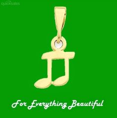 Whole Musical Note 14K Yellow Gold Pendant Charm by JB7339 - $177.00