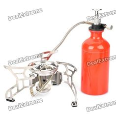 Color: Silver + red - Material: Zinc alloy + stainless steel - Simplified structure, steady support - Multi purpose fuel stove, use gas or oil fuel - Stove stand diameter: 17cm - Max burden: 15kg - Package includes: - 1 x 500ml gas bottle - 1 x Butane connector - 1 x Tools set - 1 x Pump - 1 x Carrying pouch - 1 x English manual http://j.mp/1tp5JgV