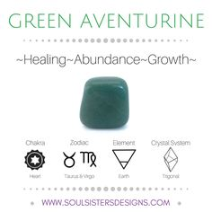 Metaphysical Healing Properties of Green Aventurine, including associated Chakra, Zodiac and Element, along with Crystal System/Lattice to assist you in setting up a Crystal Grid. Go to https:/soulsistersdesigns.com to learn more!