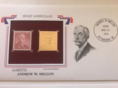 Andrew Mellon, Handmade Items, Handmade Gifts, Vintage Stamps, Overlays, Craft Supplies, Etsy Shop, American, Gold
