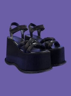 Super stacked strappy platforms with adjustable velcro closure at the ankle. Entire shoe has a semi-shiny lurex glow. Platform measures in the back to in the front. Pretty Shoes, Cute Shoes, Me Too Shoes, Funky Shoes, Aesthetic Shoes, Piercing, Dream Shoes, Shoe Game, High Heels