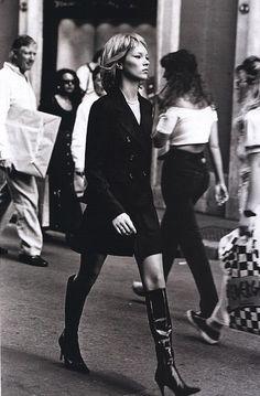 """Model: Kate Moss; photographer: Peter Lindbergh; """"Who's that girl?"""" Harper's Bazaar September 1994"""