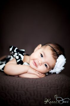 This is so precious! 3 month old baby girl. Photography by Knees and Toes Photography.