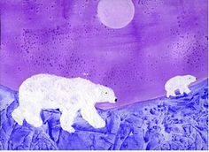 This is so easy to do.  Draw the polar bears with white  crayon, use watercolor or ink on the background and sprinkle with salt while it is still wet.  Instant texture!!  Are you keen to try this?