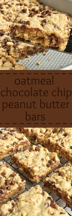 Oatmeal chocolate chip peanut butter bars are a family favourite dessert that everyone loves. Soft cookie bars loaded with oatmeal, peanut butter, peanut butter chips, and chocolate chips. These are a peanut butter & chocolate lovers dream and they come together quickly.