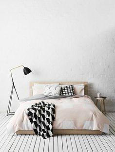skandinavisches Design Einrichtungsbeispiele Schlafzimmer Stehlampe