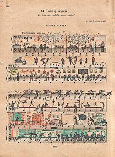 Russian Artist adds a little something to vintage sheet music. I love these!!