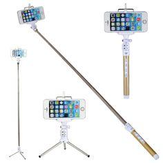COOLEAD®Multi Function Bluetooth Remote Camera Blue tooth Selfie Stick With Remote Monopod Selfie Extendable Selfie Handheld Stick Monopod Tripod for Apple iPhone 6 6 Plus 5G 5S 5C 4G 4S Sony Xperia E1 M2 Z1 Z2 Z3 Compact Vodafone Smart 4 mini LG G2 G3 L70 HTC Desire 310 610 816 HTC One M7 M8 Mini MIni 2 Samsung E3309T Galaxy Ace 3 Express Note 2 3 4 Edge S3 S4 S4 Mini S5 Y Duos Nokia Lumia 1020 1320 1520 520 530 630 635 636 930 UK (Gold)