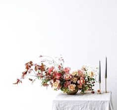 romantic pinks and reds, floral arrangement, wedding floral ideas.