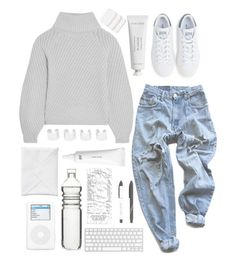 """""""❁we, we don't have to worry about nothing❁"""" by nemophxlist ❤ liked on Polyvore featuring Levi's, Iris & Ink, adidas, Byredo, COVERGIRL, Maison Margiela and Sagaform"""
