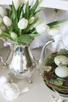 I put these pretty faux blooms in a silver teapot. Silver and spring flowers are perfect together! Elevate the everyday! Elevate the faux! Fresh Flowers, Silk Flowers, Spring Flowers, Fake Flowers Decor, Exotic Flowers, Flowers Garden, White Tulips, White Flowers, Yellow Roses