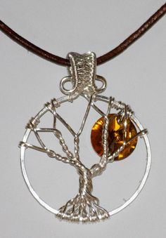 Yellow Topaz Crystal Moon Tree of Life by Mariesinspiredwire, $20.00