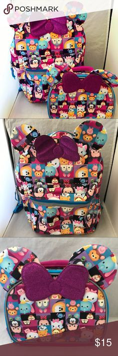 """Disney Tsum Tsum All Ears 16"""" Backpack & Lunch Bag Disney Tsum Tsum All Ears 16"""" Backpack & Lunch Bag - Used twice by my daughter she wanted an American Girl backpack instead in excellent like new condition. ❌ Price is Firm!!!!! See Pics! Tsum Tsum allover print 16 x 12 x 5 inches Backpack with 3D Ears and glitter PVC bow. Disney Accessories Bags"""