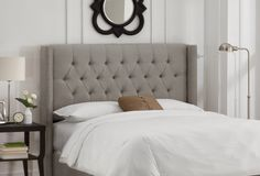 Monroe Wingback Headboard, Gray