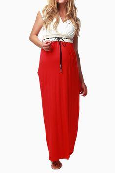 c2229f39dba41 PinkBlush - Where Fashion Meets Motherhood. Red White Colorblock Maternity/ Nursing Maxi Dress