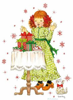 sarah kay 3d Pictures, Creative Pictures, Holly Hobbie, Vintage Christmas Cards, Retro Christmas, Christmas Crafts, Sara Kay, Children Images, Free Illustrations