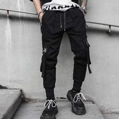 Spring Hip Hop Joggers Men Black Harem Pants Multi Pocket Ribbons Man Sweatpants Streetwear Casual Men Pants M Harem Mens Jogger Pants, Men Trousers, Mens Sweatpants, Men Pants, Pantalon Streetwear, Style Streetwear, Harem Pants Fashion, Black Harem Pants, Style Sarouel