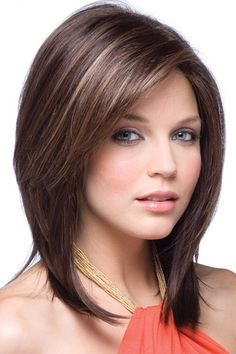 Try our selection of Noriko Wigs for a fabulous wig look! Jackson by Noriko Wigs features a side part with tapered, shoulder length strands. Layered Bob Hairstyles, Long Face Hairstyles, Long Bob Haircuts, Older Women Hairstyles, Straight Hairstyles, Haircut Short, Female Hairstyles, Teenage Hairstyles, Brunette Hairstyles