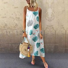 Purchase Summer New Women's Fashion Sexy Suspender Leaf Print Loose Dress dress 177 from Yuanzala on OpenSky. Share and compare all Apparel. Shift Dresses, Maxi Dresses, Sleeveless Dresses, Floryday Vestidos, Vetement Fashion, Vestido Casual, Mini Dress With Sleeves, Summer Dresses For Women, Dress Brands