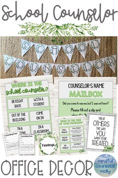 This rustic school counselor office decor is perfect for anyone who is looking to spruce up their counseling office with a calming farmhouse vibe. School Counselor Office, Counseling Office Decor, Elementary School Counseling, Office Themes, School Office, Elementary Schools, Office Decorations, School School, Middle School