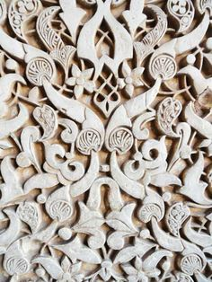 Intricate carving details of wall in Alhambra