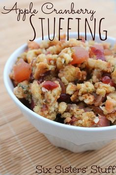 Apple Cranberry Stuffing on SixSistersStuff.com