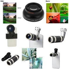 Universal 3 in Fisheye Lens + Wide Angle Lens + Macro Lens) Photo Camera Lens & Universal Zoom Telescope Telephoto Camera Lens with Smile Clip for Smartphones Fisheye Lens, Camera Lens, Wide Angle Lens, Telescope, Binoculars, Smartphone, Smile, Accessories, Pictures