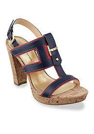 Tommy Hilfiger Brown EMERY 70A Damen Offene Sandalen mit Keilabsatz