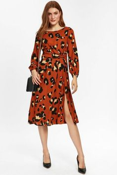 Rust Animal Print Midi Dress - Dresses- Wallis Latest Fashion Dresses, Latest Dress, Pointed Heels, Wallis, Dress Styles, Rust, Going Out, How To Make, How To Wear