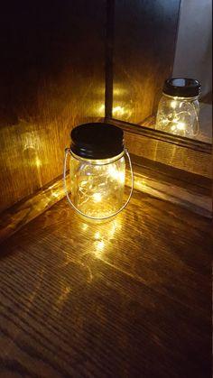 Mason Jar Solar Lid Light Twinkling Soft Yellow Angel by fsgifts Firefly Mason Jars, Mason Jar Solar Lights, Solar Fairy Lights, Mason Jar Lighting, Black Metal Rings, White Angel, Battery Sizes, Twinkle Twinkle, Tableware