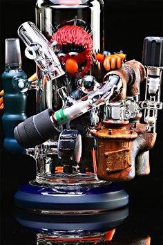 "Rob Morrison Glass/Hitman Glass Animal Mayhem Torch Tube | Feast your eyes and show your respect to the Rob Morrison vs. Hitman Glass Mayhem Animal Torch Tube. If ""borches"" are wrong I don't want to be right. What's a borch you say? You got it—it's a bong and torch all in one, and it's the hottest thing since sliced bread for those lucky dabbers who can afford one."