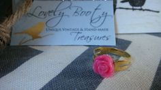 Small Pink Rose Flower Resin Ring on Goldplated by LovelyBooty, $5.50