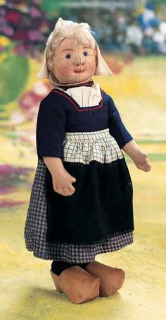 """Theriault's - 11"""" German Cloth Character Doll by Steiff in znear Mint Condition, c 1915"""