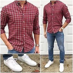 Holiday Outfits Christmas Casual, Stylish Men, Men Casual, Casual Shirts, Casual Outfits, Night Outfits, Fashion Outfits, Mode Man, Denim Look