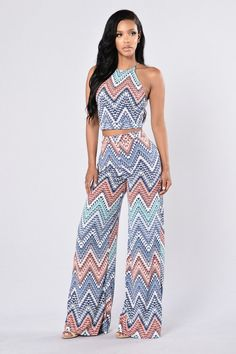 - Available in Blue Multi - Matching Tank and Pant Set - Aztec Print - 95% Polyester 5% Spandex Pants - High Waist Wide Leg Pant - Elastic Waist Band - Very Stretchy Top - Spaghetti Strap Top - X Stra