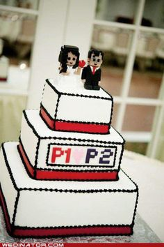 Geek wedding cake p1<3 p2 idea different topper